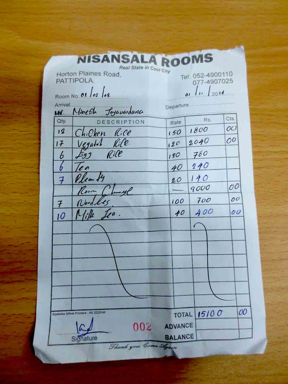 Nisansala Guest House at Pattipola Total Bill