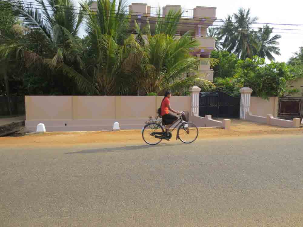 Jaffna People Life: A Lady rides a bicycle