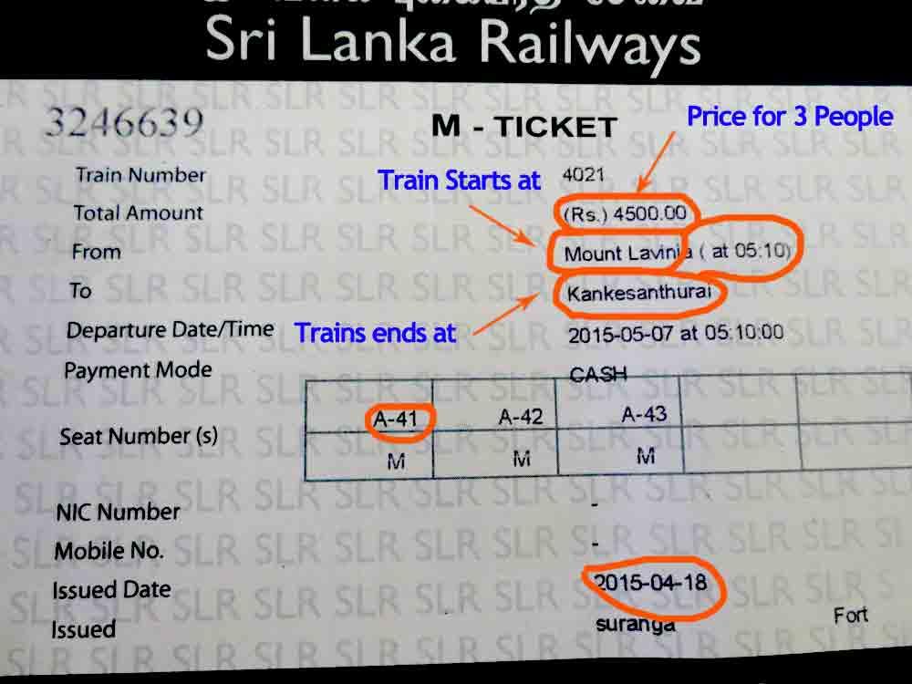 Jaffna Express Train Ticket More details