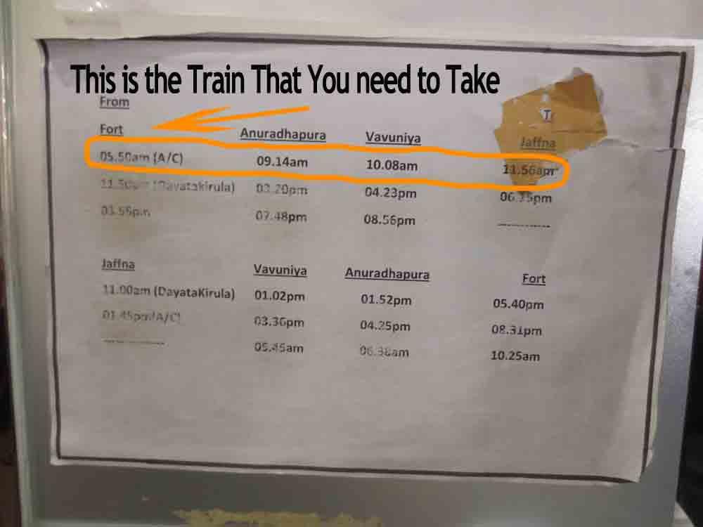 Jaffna Train Schedule