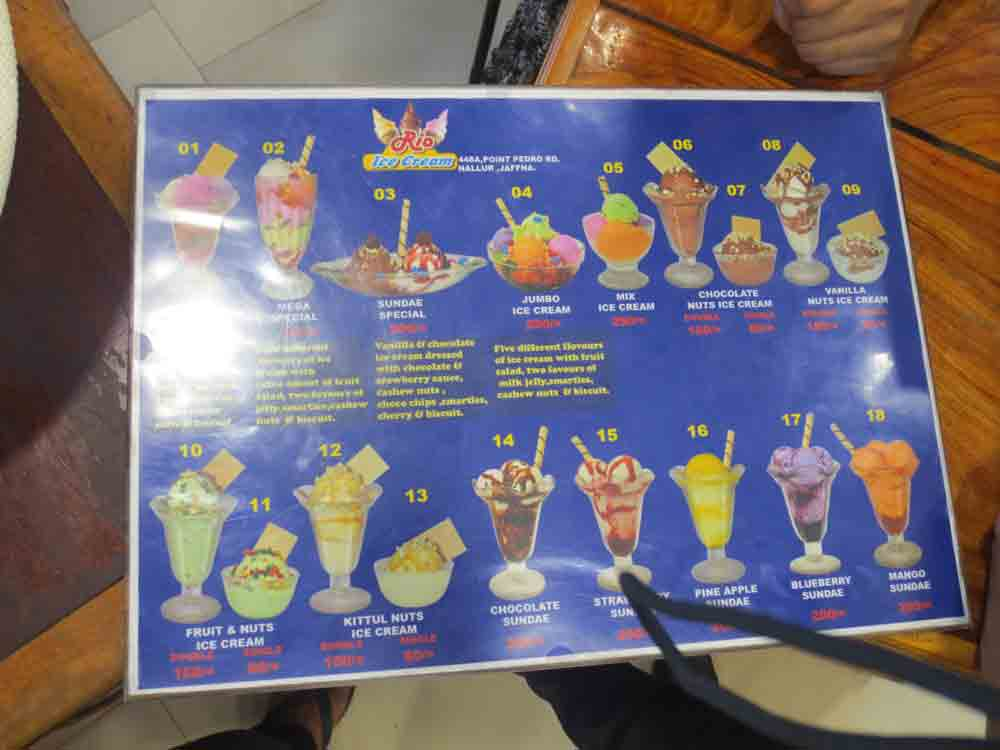 This is the Rio Ice Cream Menu in Jaffna restaurant. Rio Ice cream Colombo also has a similar menu
