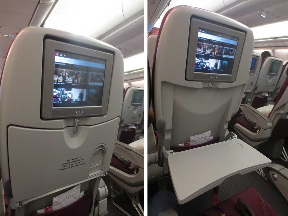 A340-600 Airbus Qatar Airways : Meal tray is big, but unable to fold.