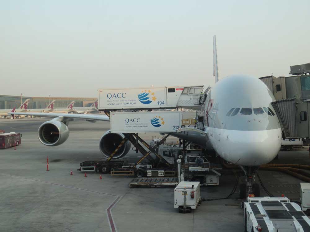 Airbus A380-800 of Qatar Airways at Doha Hamad International Airport