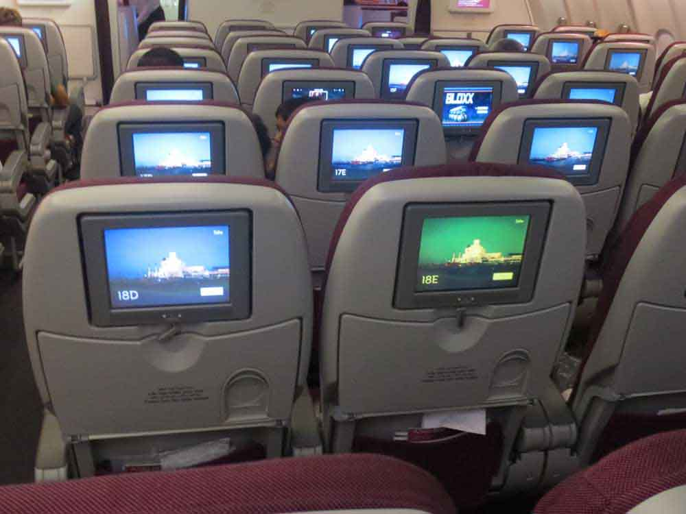 Qatar Airways In Flight entertainment system and Seat configuration