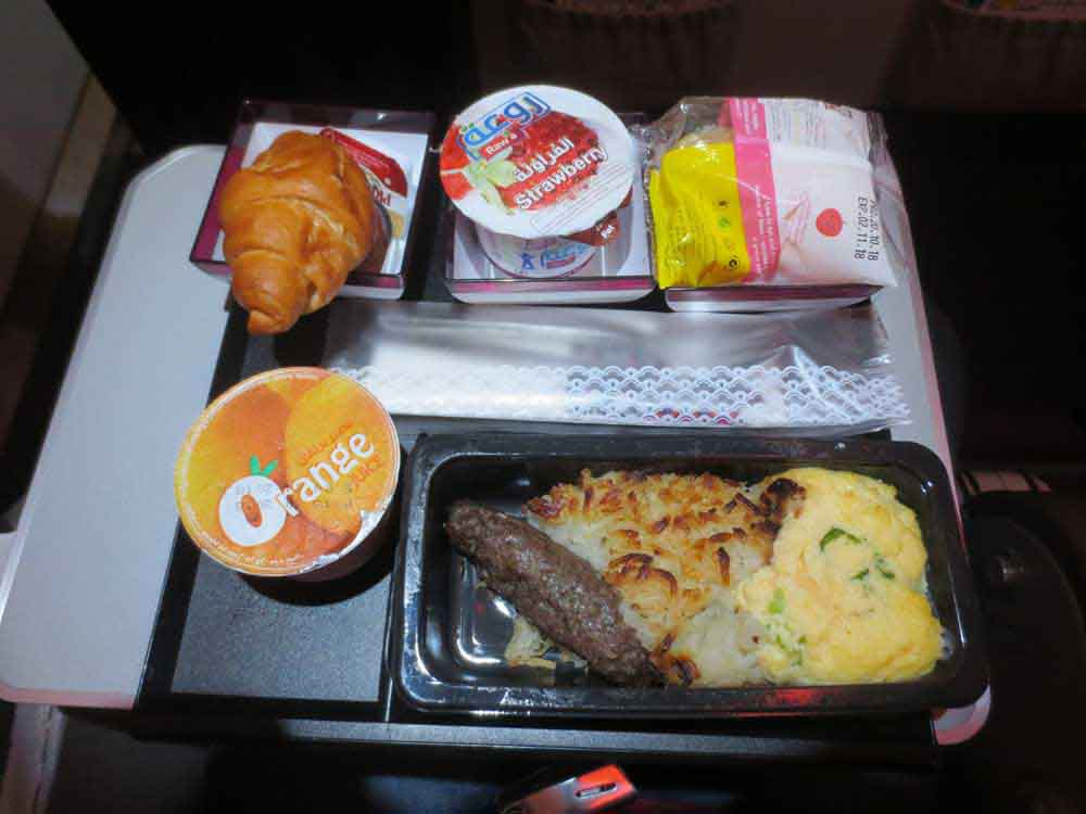 Scrambled Egg with Mutton Sausage - Qatar Airways Doha to Colombo