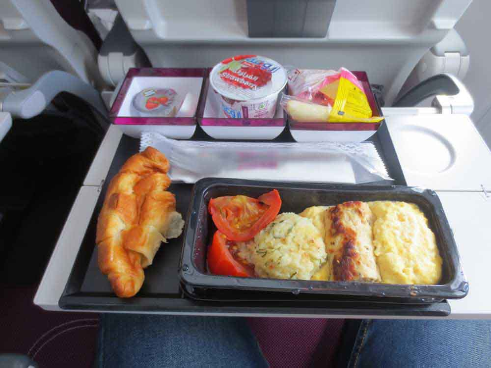 Scrambled Egg with Chicken Sausage from Doha to Paris. In addition that, I was served Tomato and Potato Rosti [The Swiss way of cooking potatoes]