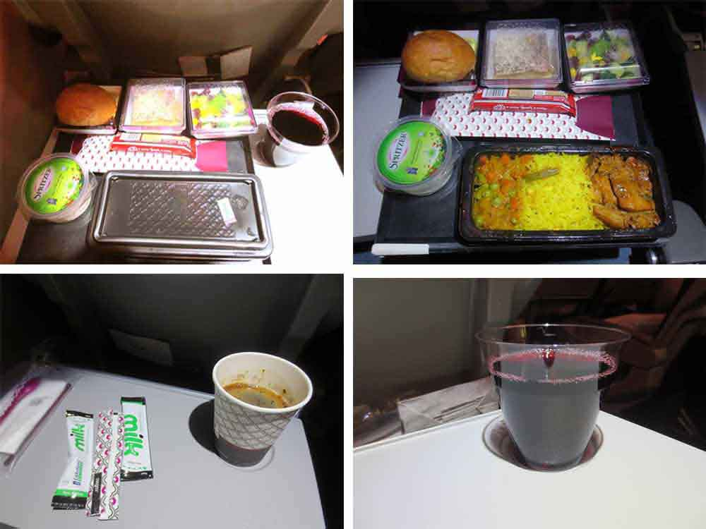 Qatar Airways Dinner Meal : Colombo to Doha : Hindu Meal None Vegetable