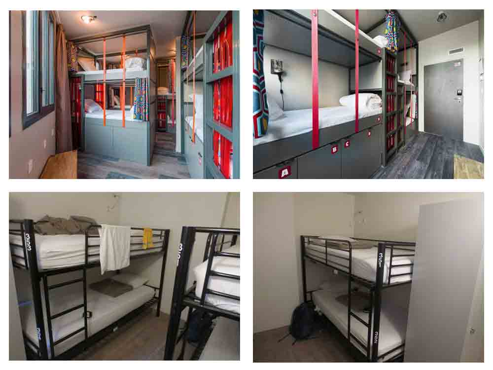 Bunker Beds in Les Piaules Hostels in Paris and Enjoy Hostel in Paris