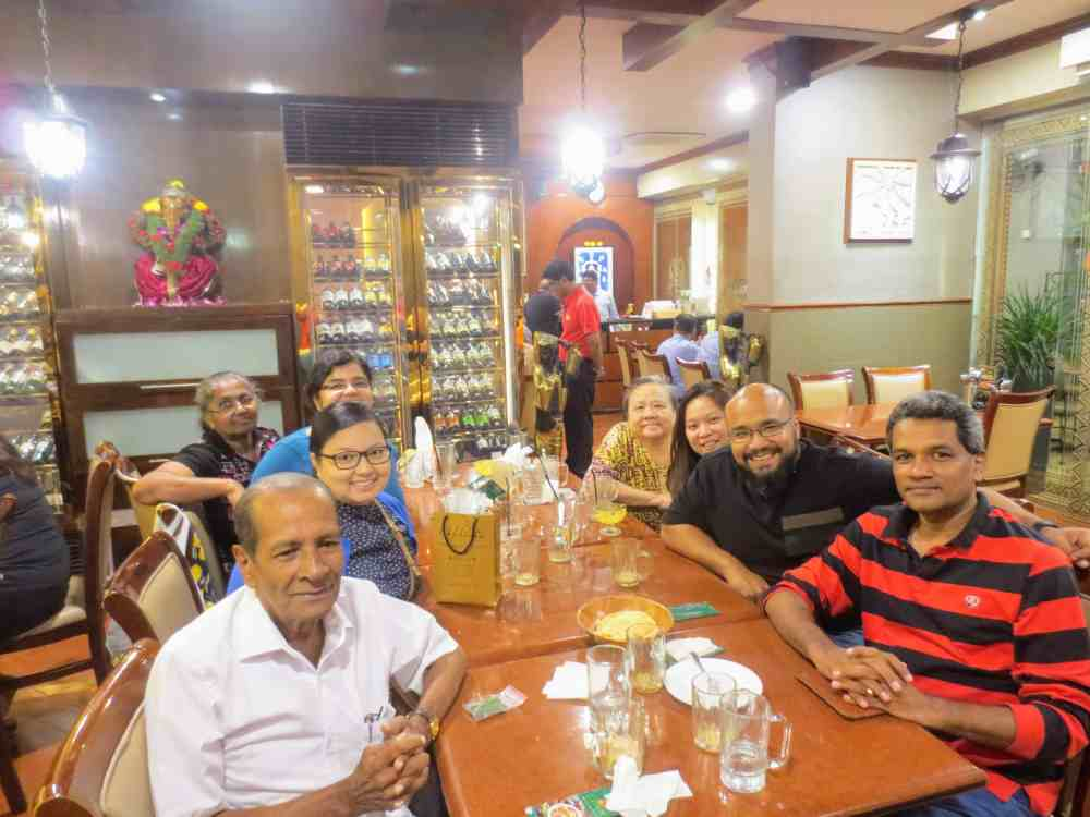 Chandana, My father and Nair's family in Gayatri Restaurant at Singapore, Singapore